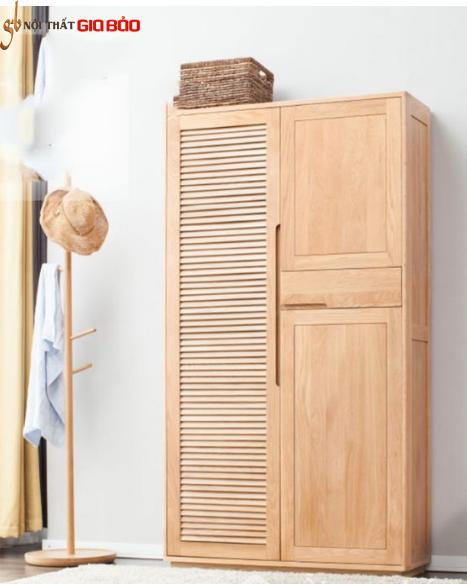 Tủ giày gia đình gỗ sồi tự nhiên thiết kế đẹp GB-5589
