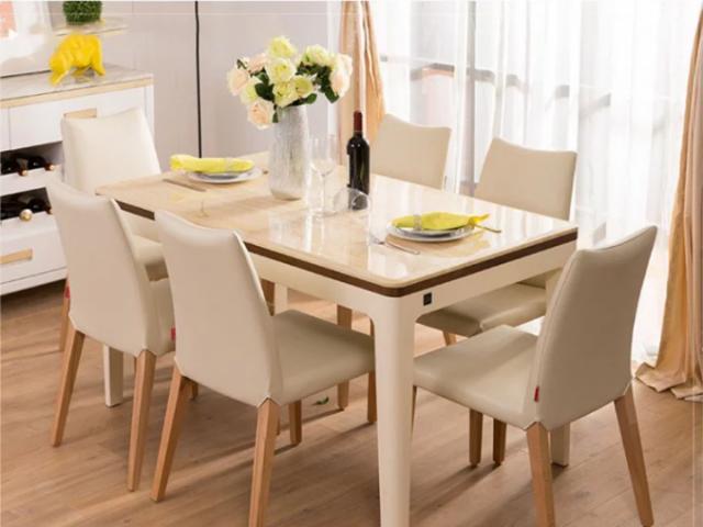 Bộ bàn ăn gia đình ghế da cao cấp GHS-4774