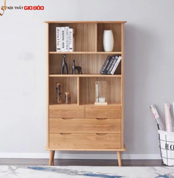 Giá sách gỗ sồi tự nhiên thiết kế đẹp hiện đại GB-2177