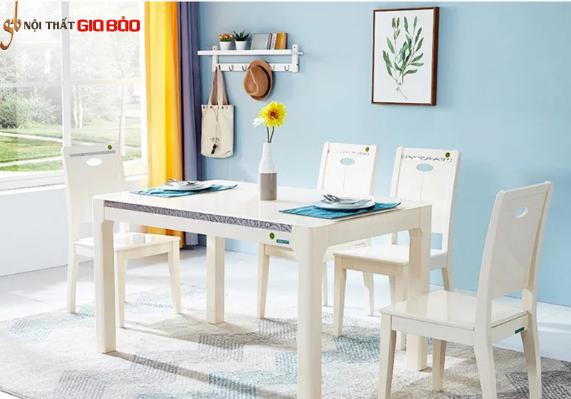 Bộ bàn ăn gỗ sồi 4 chỗ thiết kế thanh lịch GB-4736