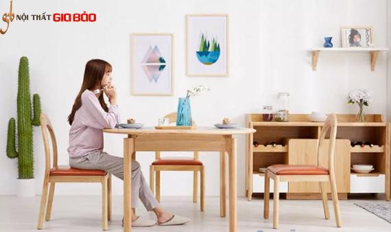 Bộ bàn ăn gỗ sồi tự nhiên thiết kế đẹp GB-4731