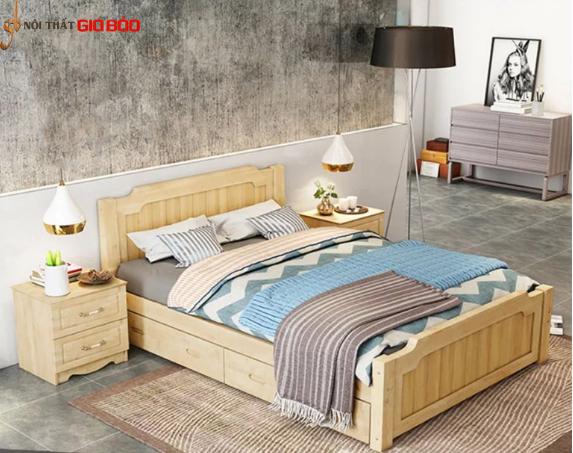 Giường ngủ gia đình bằng gỗ phun sơn hiện đại GB-9060