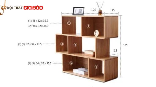 Giá sách gỗ tự nhiên thiết kế đẹp GB-2160