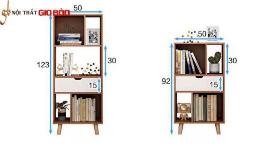 Giá sách gỗ đẹp thiết kế hiện đại GB-2156