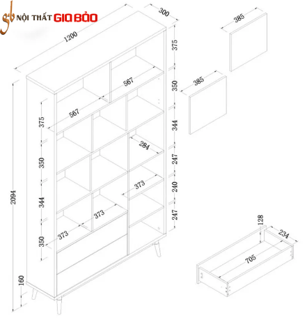 Giá sách gỗ phong cách hiện đại đẹp GB-2155