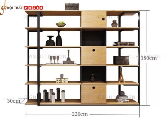 Giá sách gỗ đẹp khung sắt chắc chắn cho gia đình GB-2164