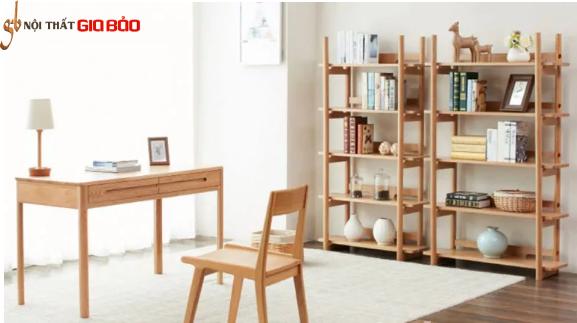 Giá sách gỗ tự nhiên thiết kế đẹp cho gia đình GB-2166