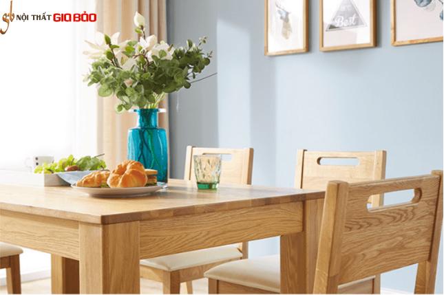 Bộ bàn ăn gỗ sồi có thiết kế đẹp hiện đại GB-4570