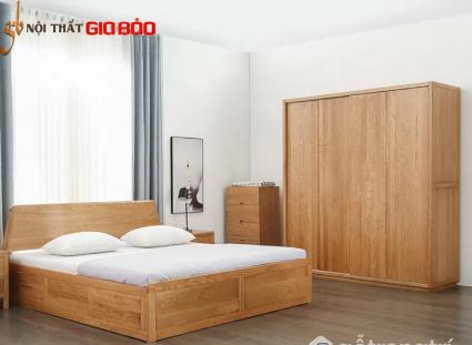 Tủ đựng quần áo gia đình gỗ sồi tự nhiên hiện đại GB-5756