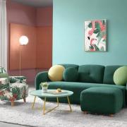 Ghế sofa bọc nỉ cao cấp khung gỗ tự nhiên hiện đại GB-8301