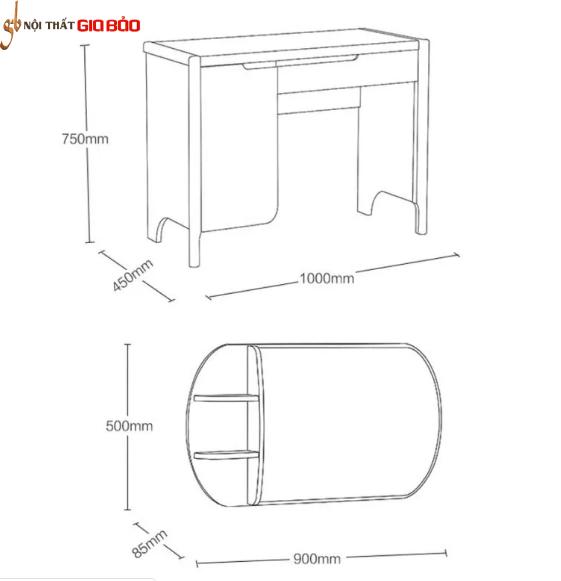 Bàn trang điểm gỗ sồi thiết kế đẹp GB-4757