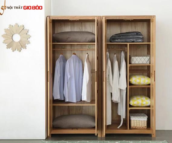 Tủ quần áo gỗ sồi thiết kế nhỏ gọn tiện dụng GB-5690