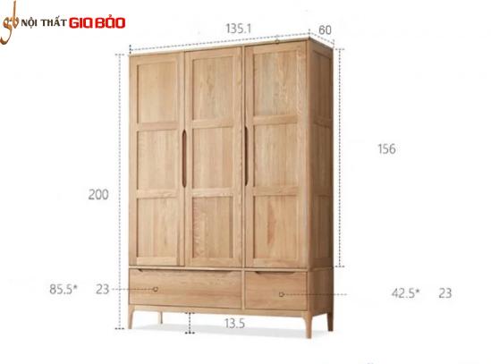 Tủ quần áo gỗ sồi tự nhiên dành cho hộ gia đình GB-5693