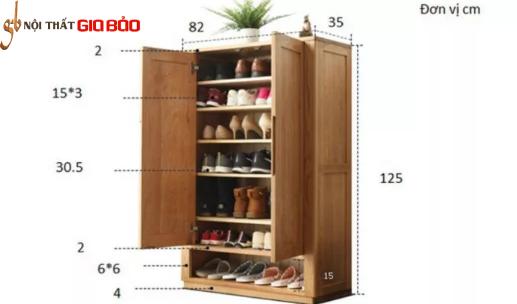 Tủ đựng giày gỗ sồi tự nhiên thiết kế hiện đại GB-5712