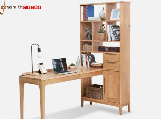 Bộ bàn làm việc gỗ sồi liền giá sách để đồ GB-4797