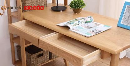 Bàn làm việc liền giá sách bằng gỗ sồi GB-4752