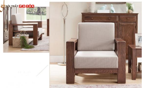 Mẫu ghế sofa đơn khung gỗ tự nhiên GB-812