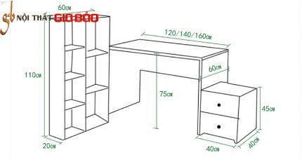 Bàn làm việc tiện dụng gỗ công nghiệp GB-4662