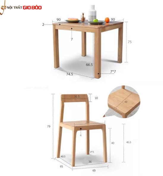 Bàn ăn gỗ sồi tự nhiên thiết kế thanh lịch GB-4647