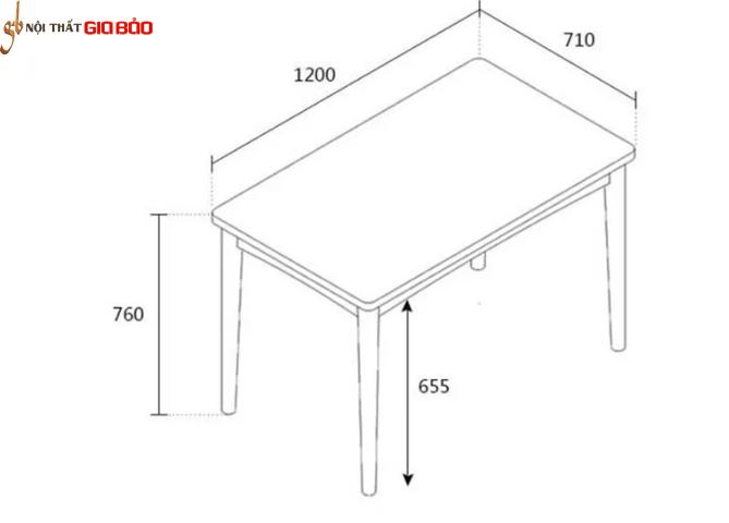 Bộ bàn ăn gỗ tự nhiên thiết kê đẹp hiện đại GB-4568