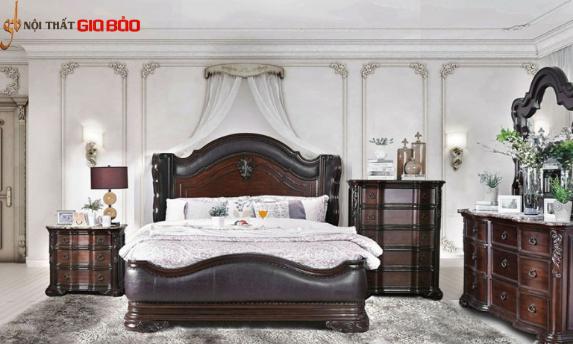 Giường ngủ gỗ tự nhiên phong cách cổ điển GB-938