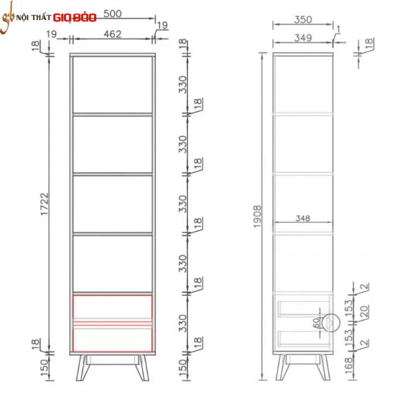 Giá sách gỗ công nghiệp nhỏ gọn đẹp GB-2141