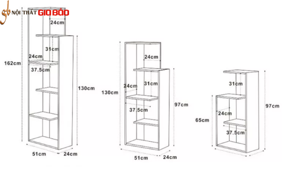 Giá sách gia đình bằng gỗ công nghiệp GB-2138