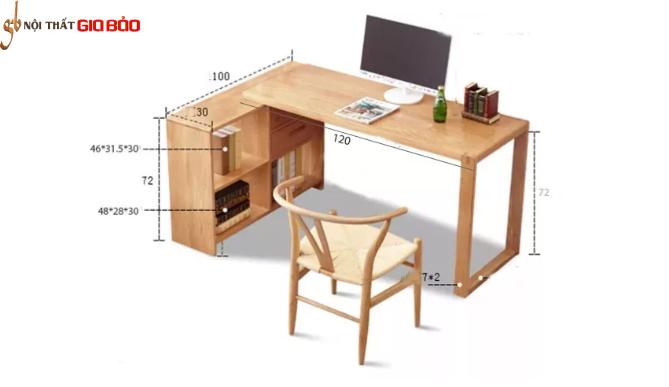 Bàn làm việc gỗ tự nhiên thiết kế tiện dụng GB-4659