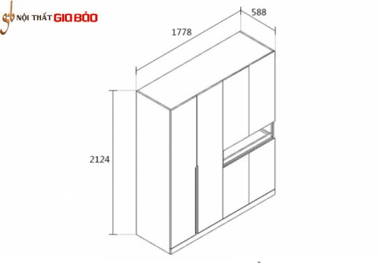 Tủ đựng quần áo gỗ công nghiệp hiện đại GB-5575