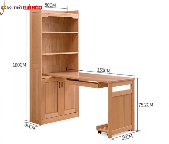 Bàn học liền giá sách gỗ sồi tự nhiên tiện nghi GB-4836